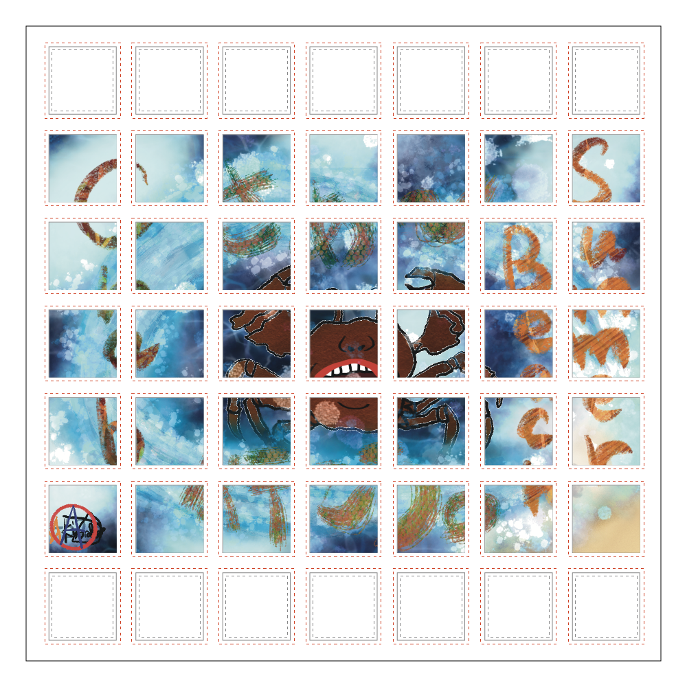 夏のビーチ「カニ」 ORILAB MARKET.Version.10 選べるホワイトフレークシール(正方形49枚)160×160mm