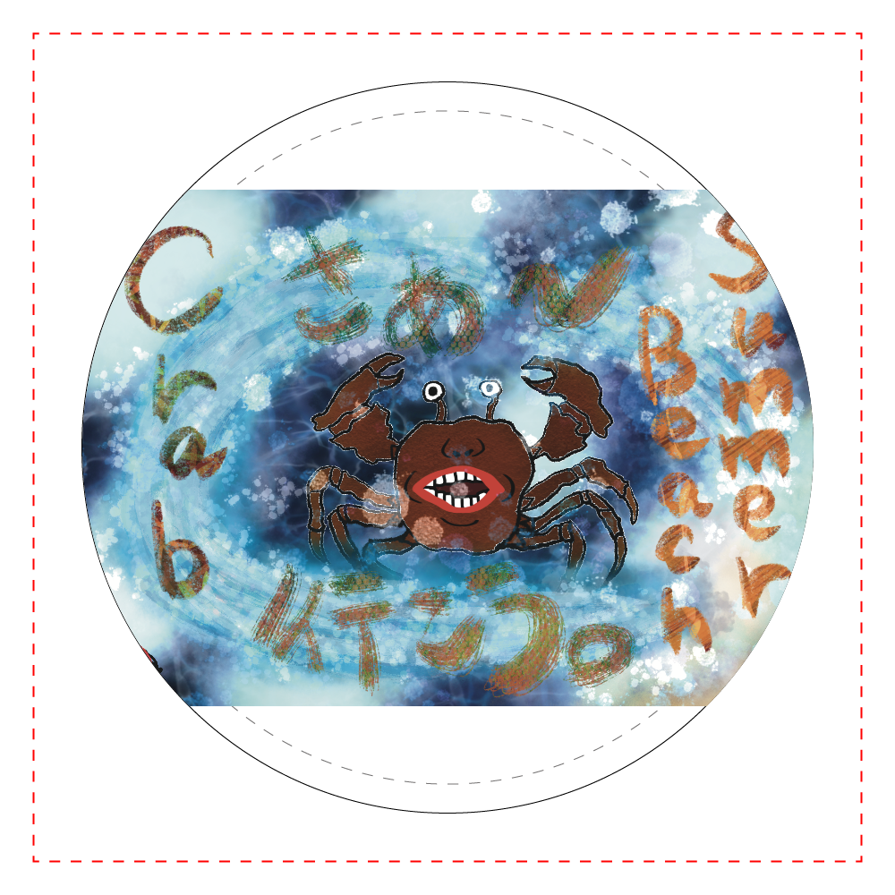 夏のビーチ「カニ」 ORILAB MARKET.Version.10 レザーバッジ