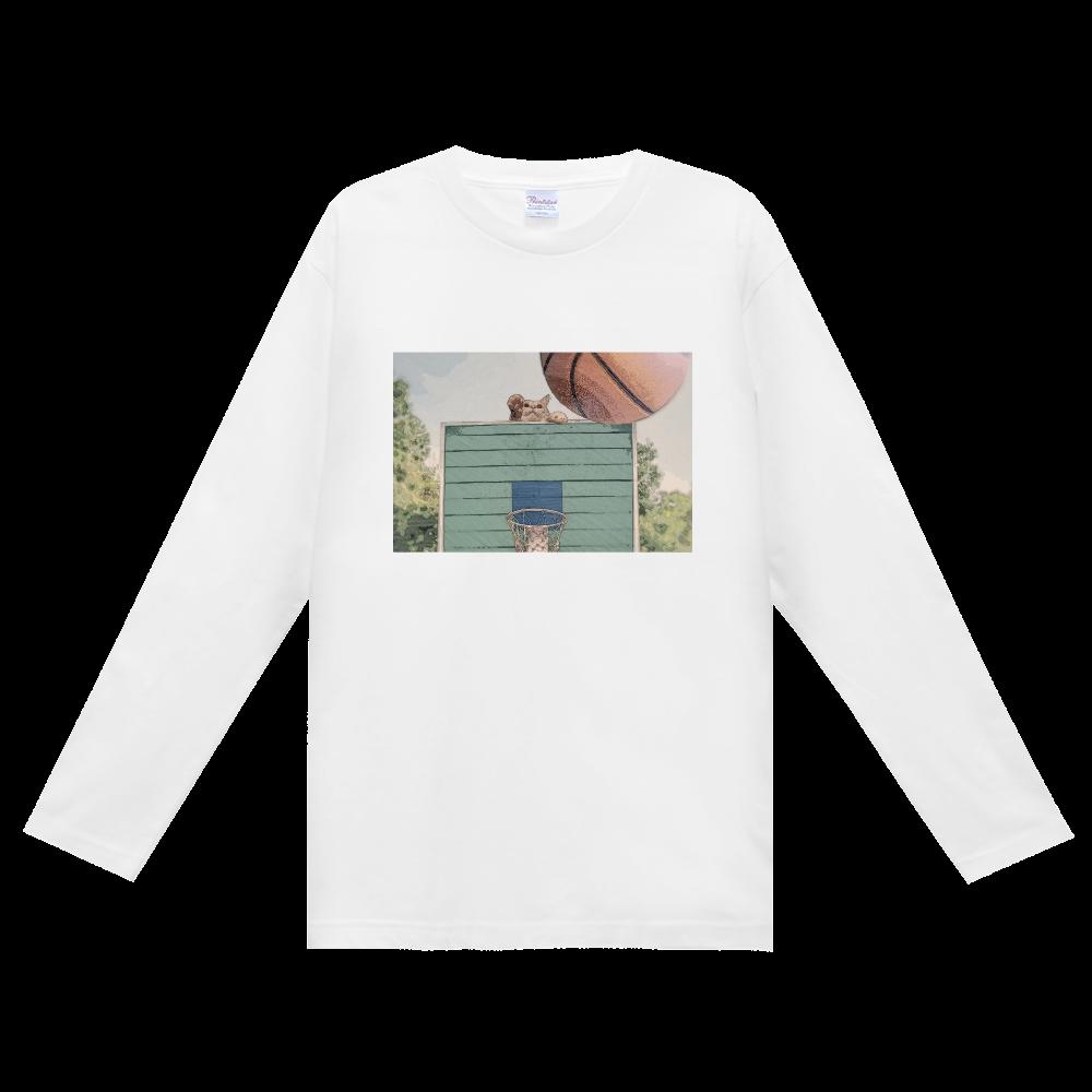 猫とバスケットゴール① ヘビーウェイト長袖Tシャツ