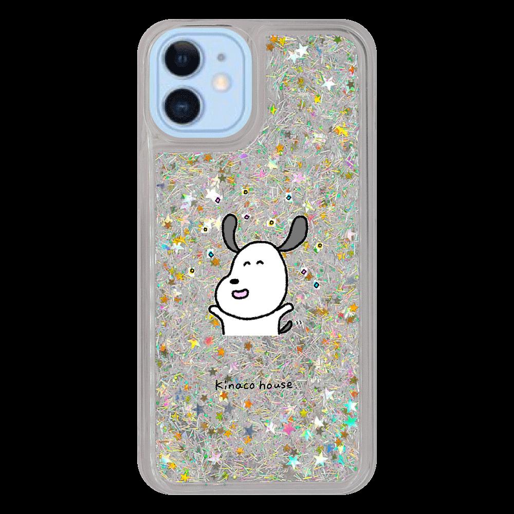 イヌさん キラキラ iPhone12/12pro グリッターケース