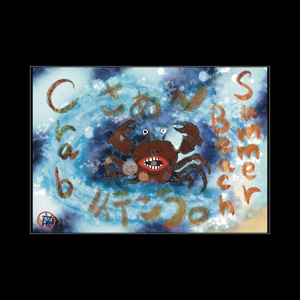 夏のビーチ「カニ」 ORILAB MARKET.Version.11 ブランケット - 700 x 1000 (mm) - ポリエステル