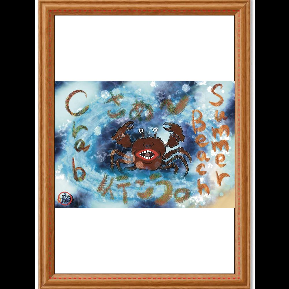夏のビーチ「カニ」 ORILAB MARKET.Version.11 アートデザインパネル (A4 キャンバス)