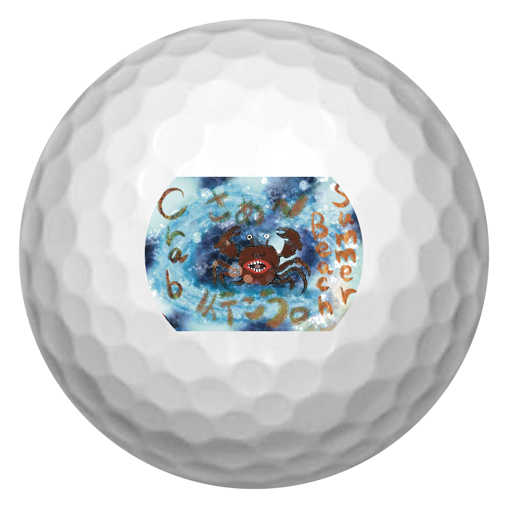 夏のビーチ「カニ」 ORILAB MARKET.Version.11 ゴルフボール(3個セット)