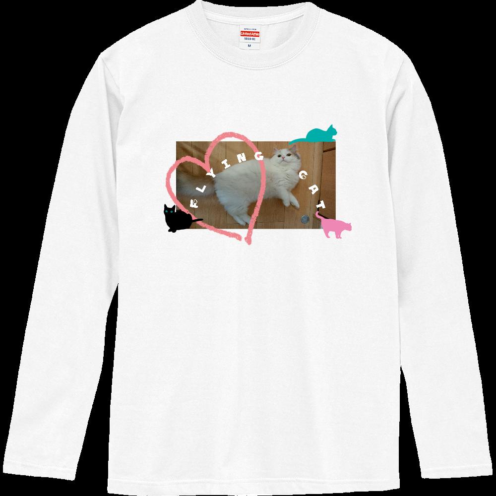 空飛ぶ猫Tシャツ ロングスリーブTシャツ