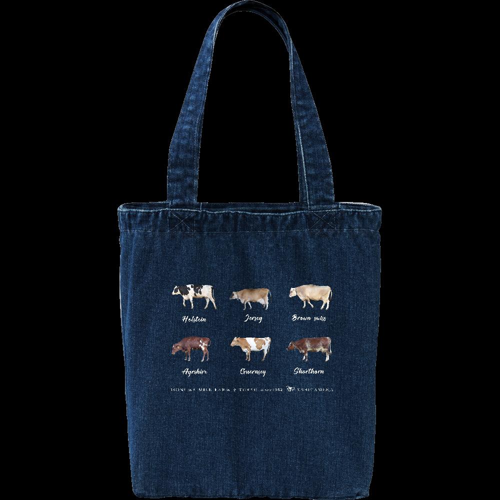 6種類の乳牛オールスターズ デニムトートバッグ Mサイズ デニム トートバッグ
