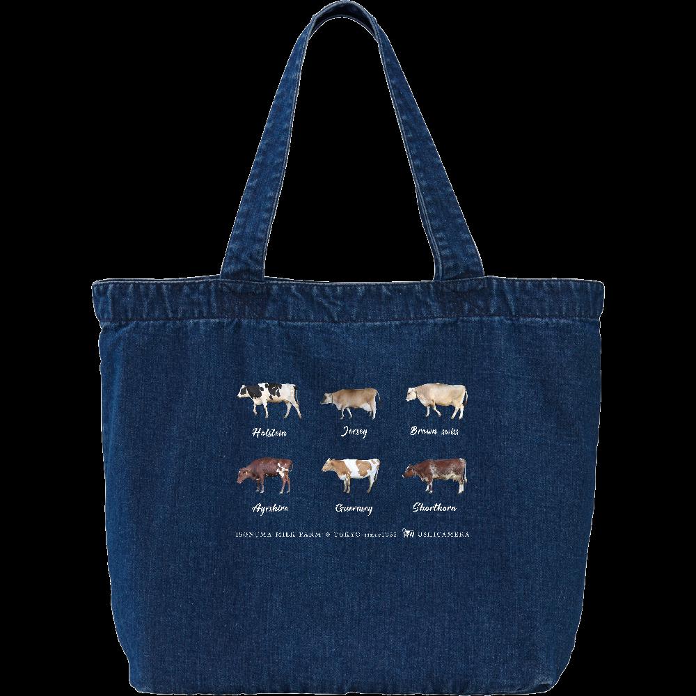 6種類の乳牛オールスターズ デニムトートバッグ Lサイズ デニム ラージ トートバッグ