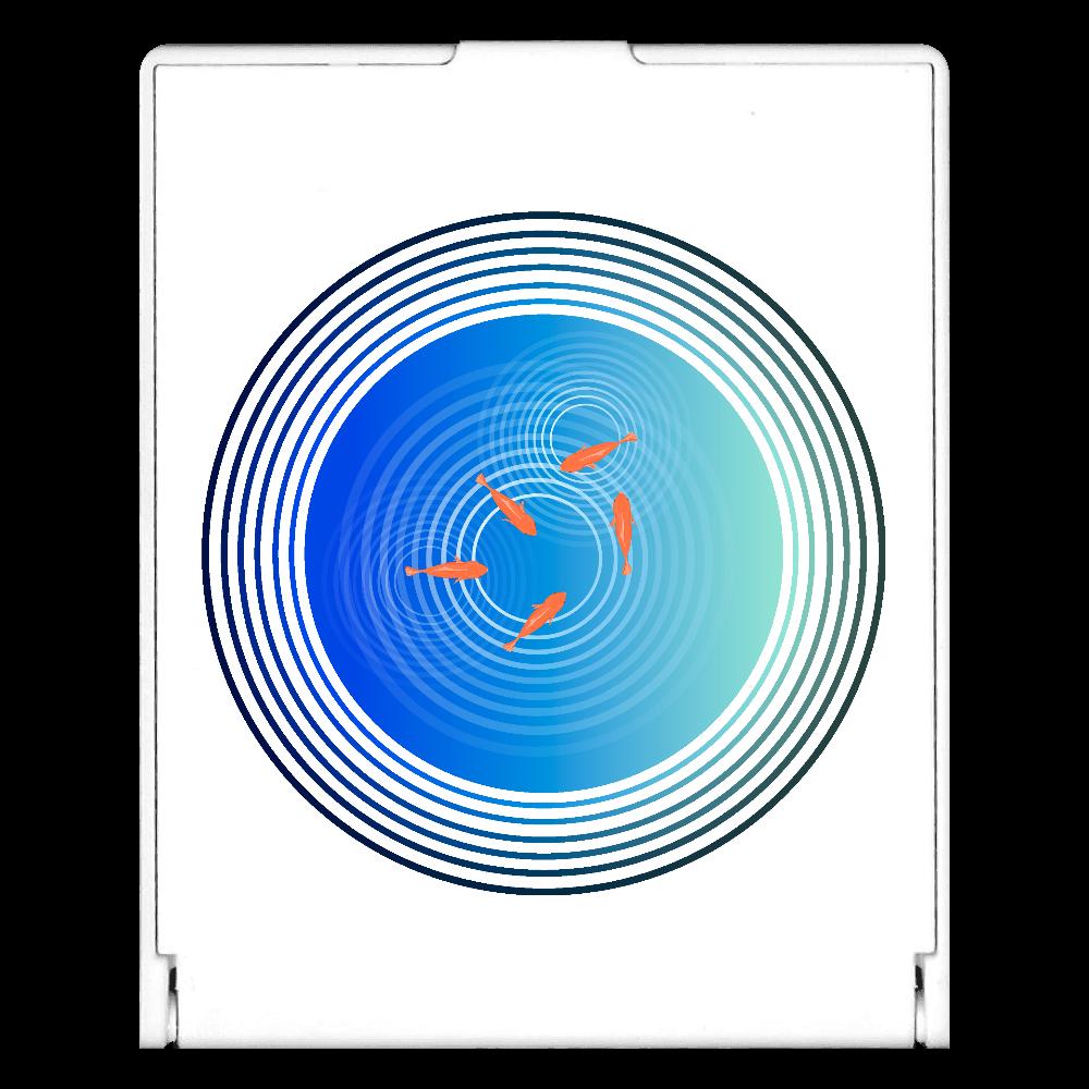 金魚と水面の波紋 スクエアミラー