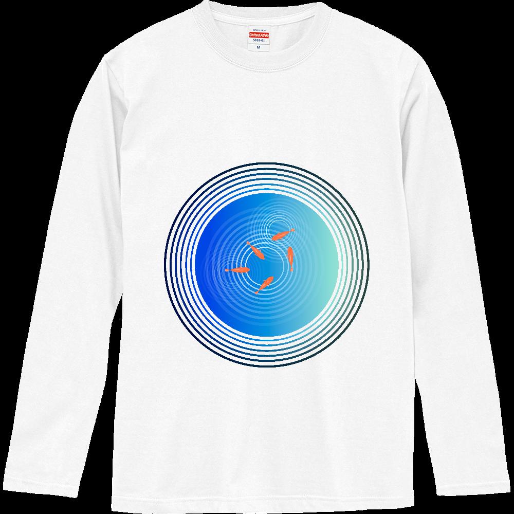 金魚と水面の波紋 ロングスリーブTシャツ