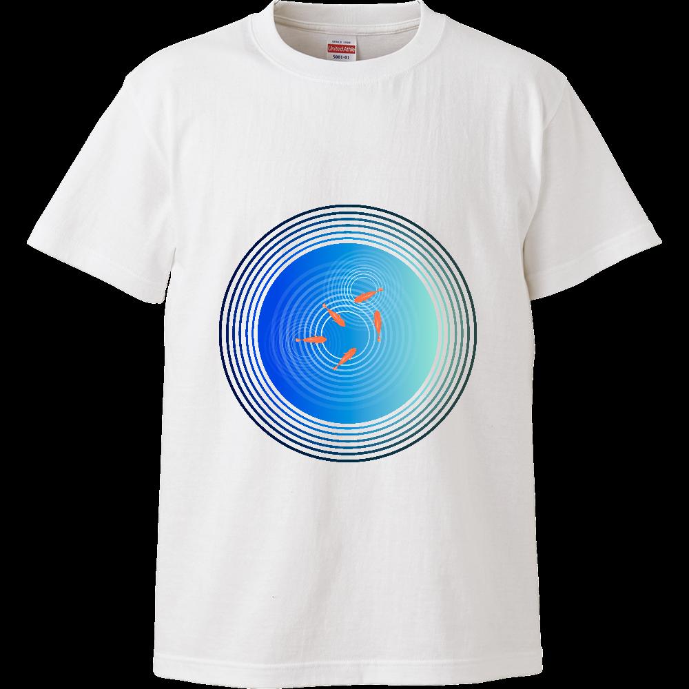 金魚と水面の波紋 ハイクオリティーTシャツ