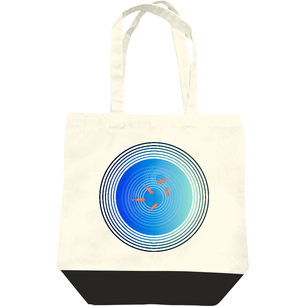 金魚と水面の波紋 レギュラーキャンバストートバッグ(M)