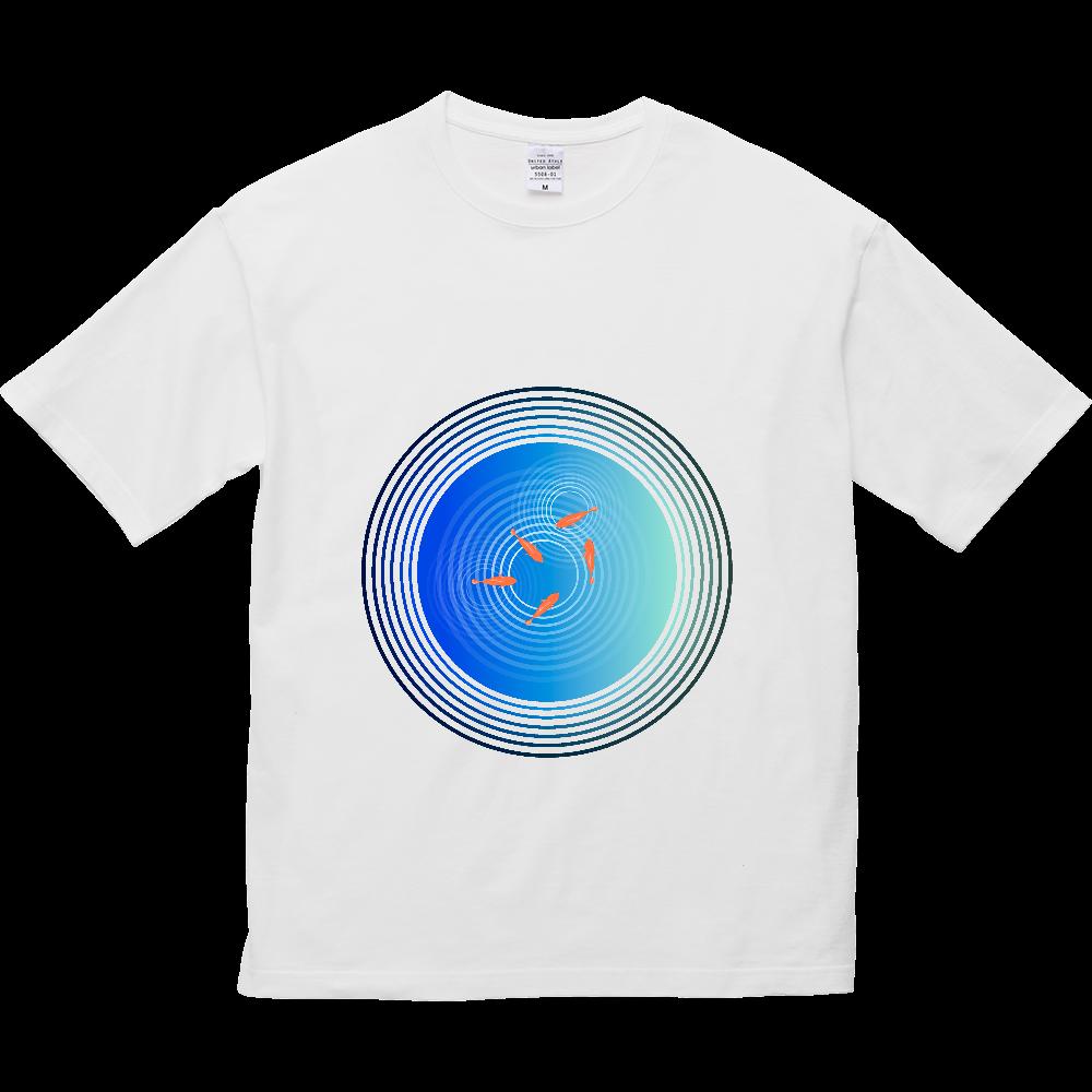 金魚と水面の波紋 5.6オンス ビッグシルエット Tシャツ