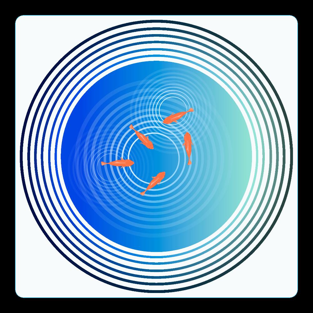 金魚と水面の波紋 アクリルコースター(四角)