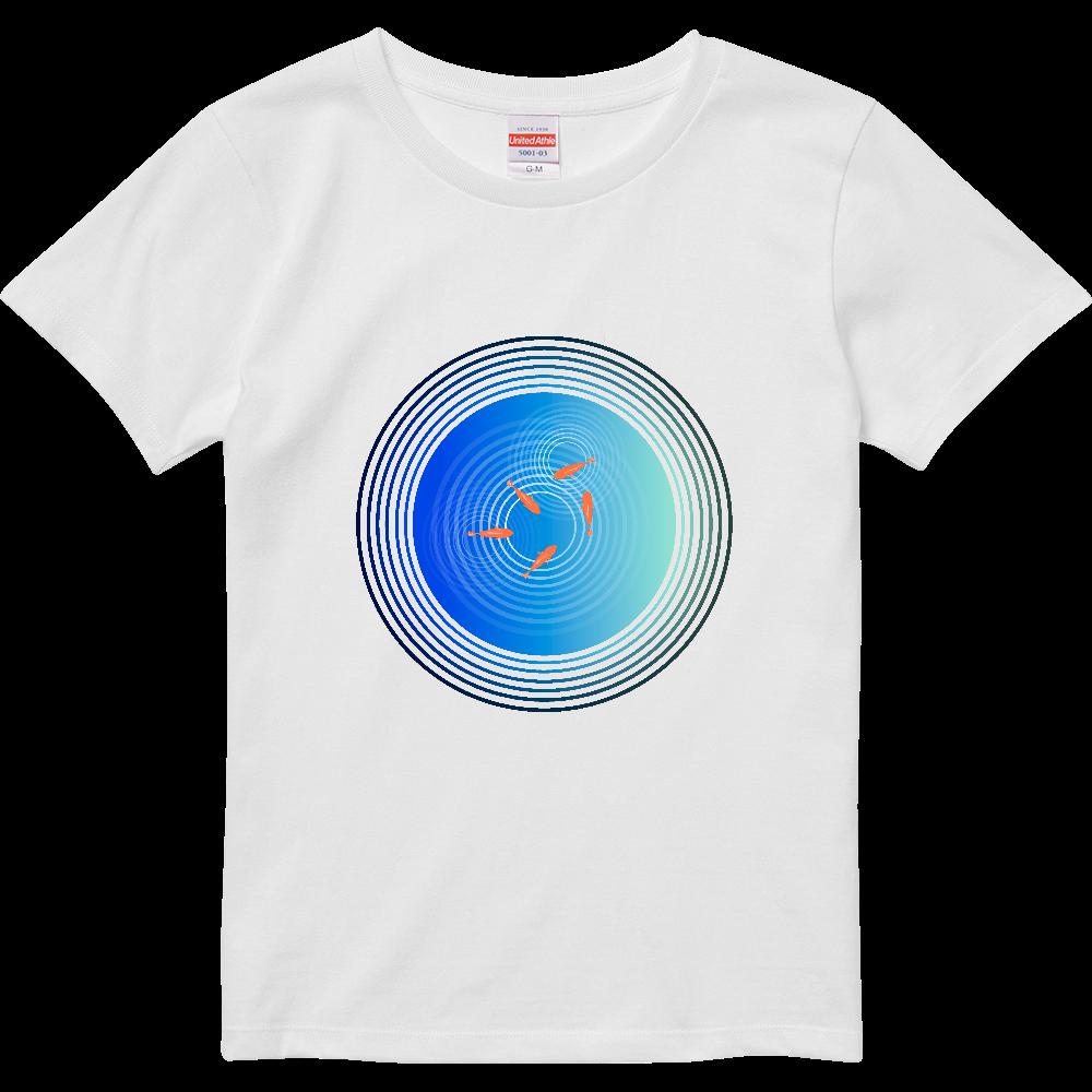金魚と水面の波紋 ハイクオリティーTシャツ(ガールズ)