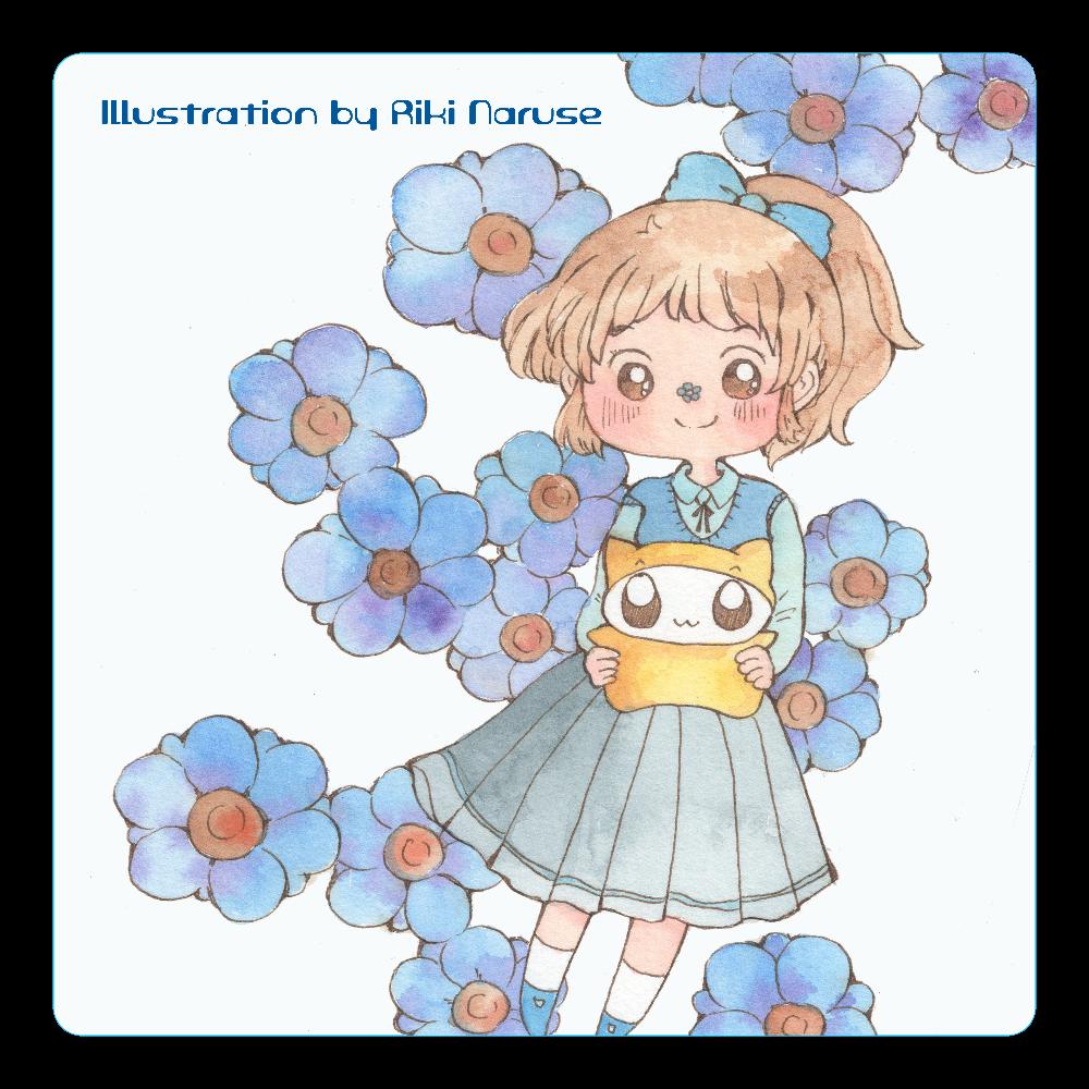 ブルーフラワーシリーズ アクリルコースター(四角)