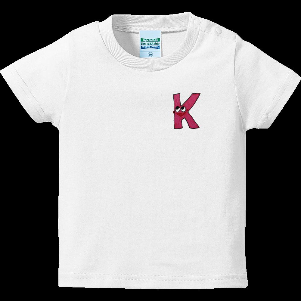 アルファベットTシャツ K ハイクオリティーベビーTシャツ