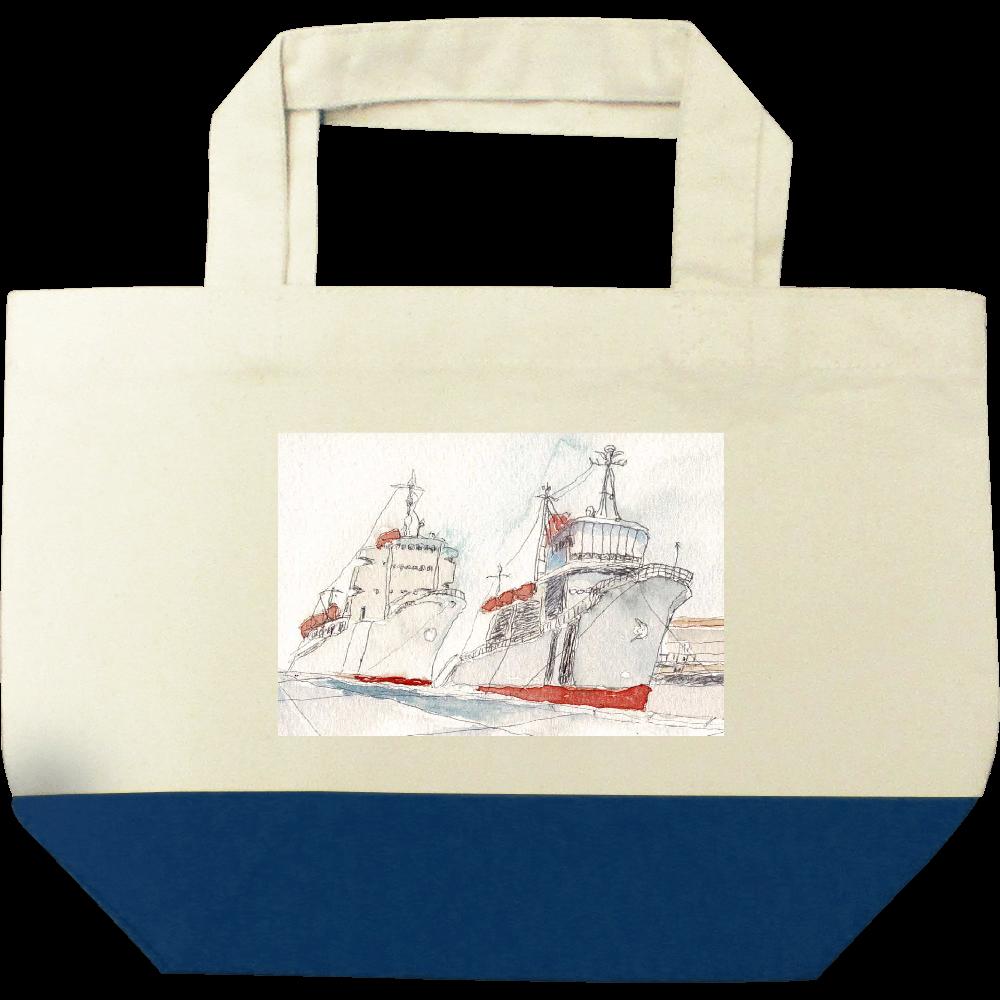港の風景 キャンバスツートントートバッグ(S)