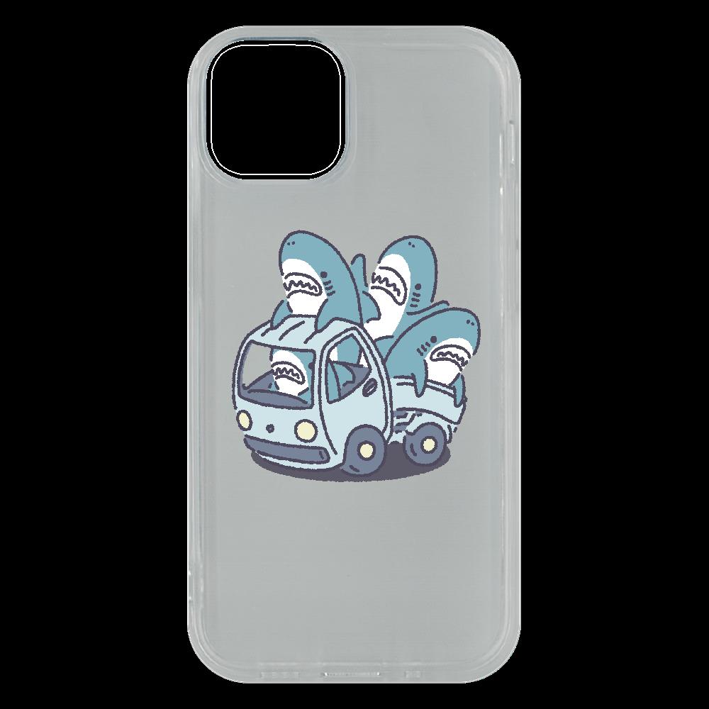 サメがたくさんトラックに iPhone13 mini ソフトケース (TPU)