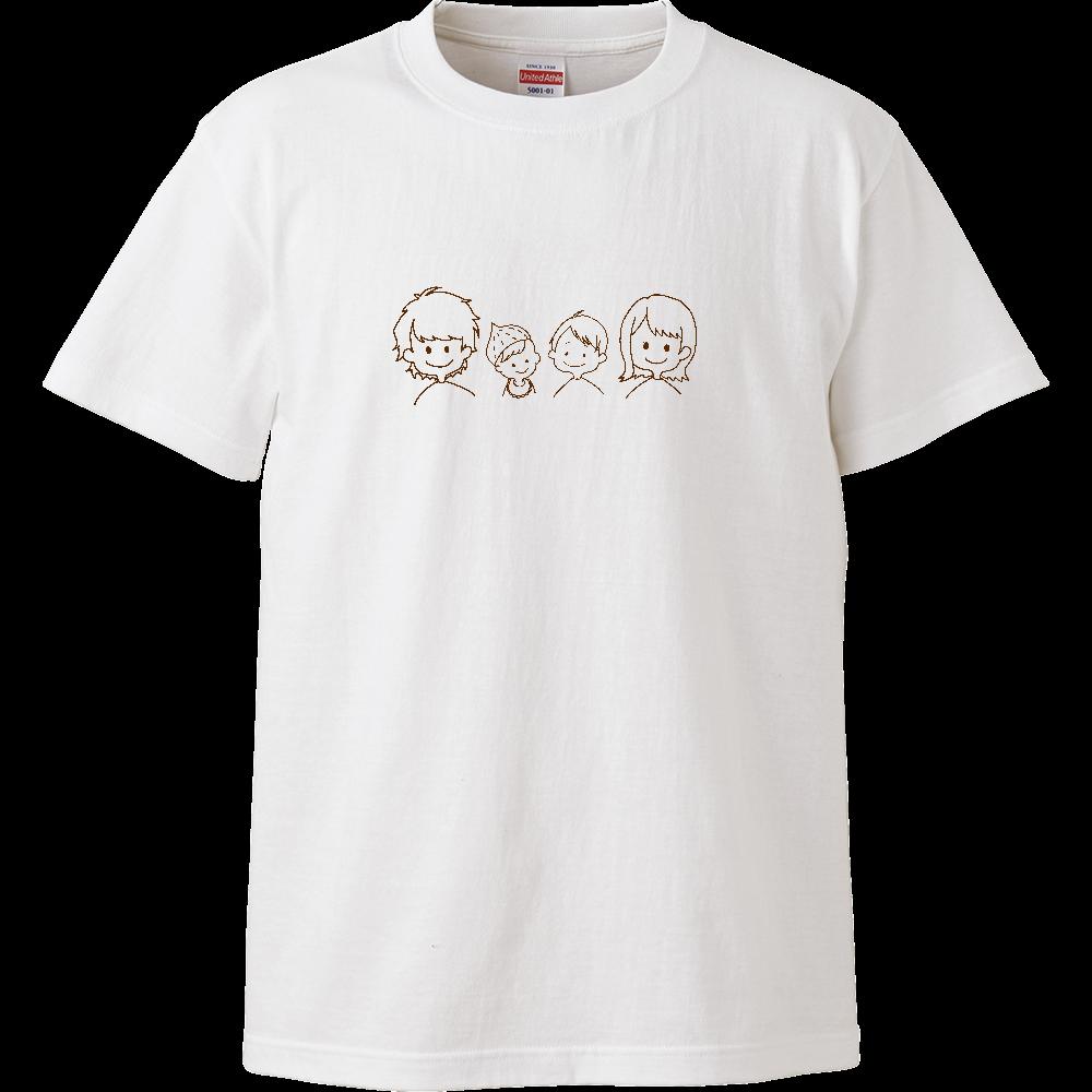 家族4人仲良しTシャツ4(キッズ用) ハイクオリティーキッズTシャツ