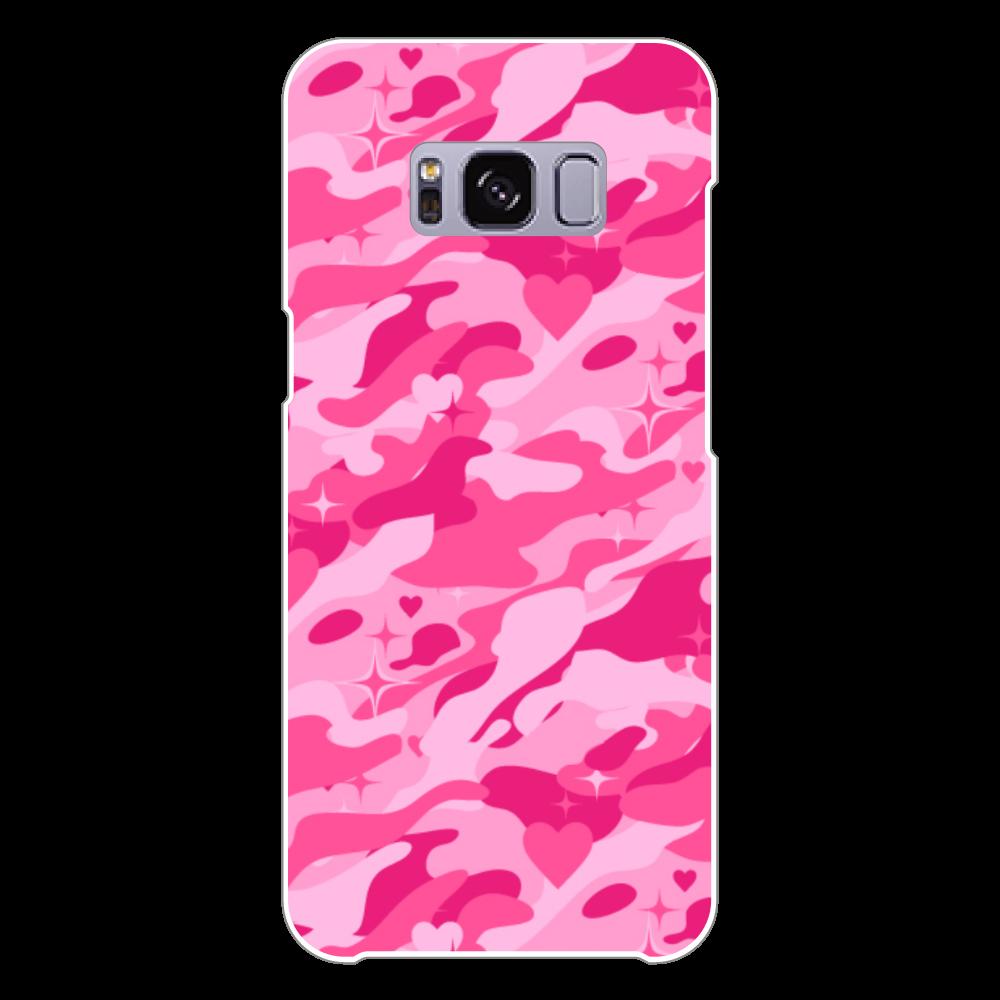 ピンクのハートが隠れた迷彩柄 Galaxy S8 (SC-02J)(白)