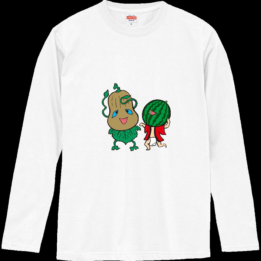 妖怪シリーズ、かぼちゃ妖怪とスイカ妖怪 ロングスリーブTシャツ