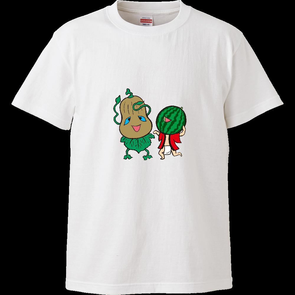 妖怪シリーズ、かぼちゃ妖怪とスイカ妖怪 ハイクオリティーTシャツ