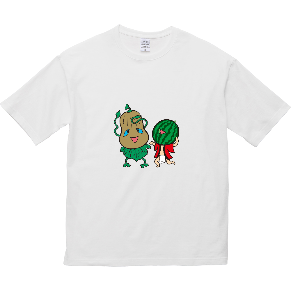 妖怪シリーズ、かぼちゃ妖怪とスイカ妖怪 5.6オンス ビッグシルエット Tシャツ