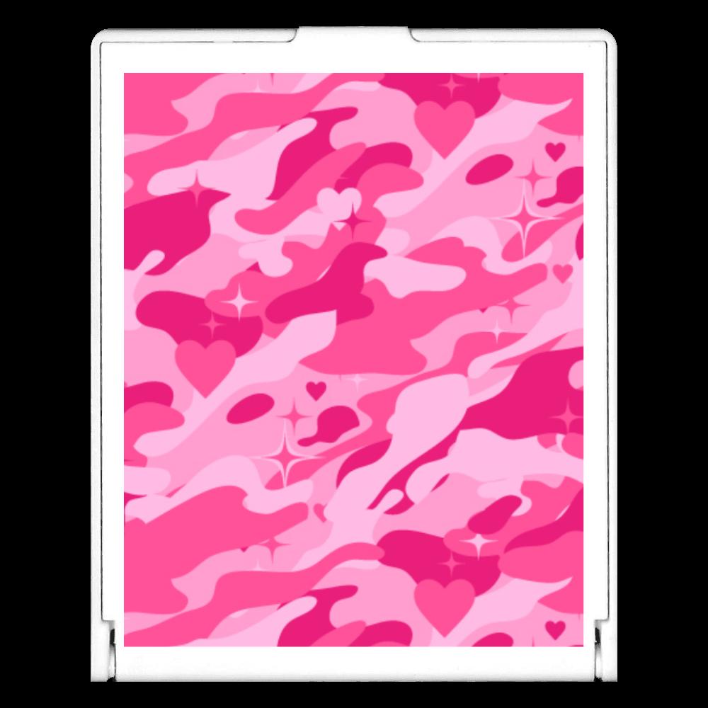 ピンクのハートが隠れた迷彩柄 スクエアミラー