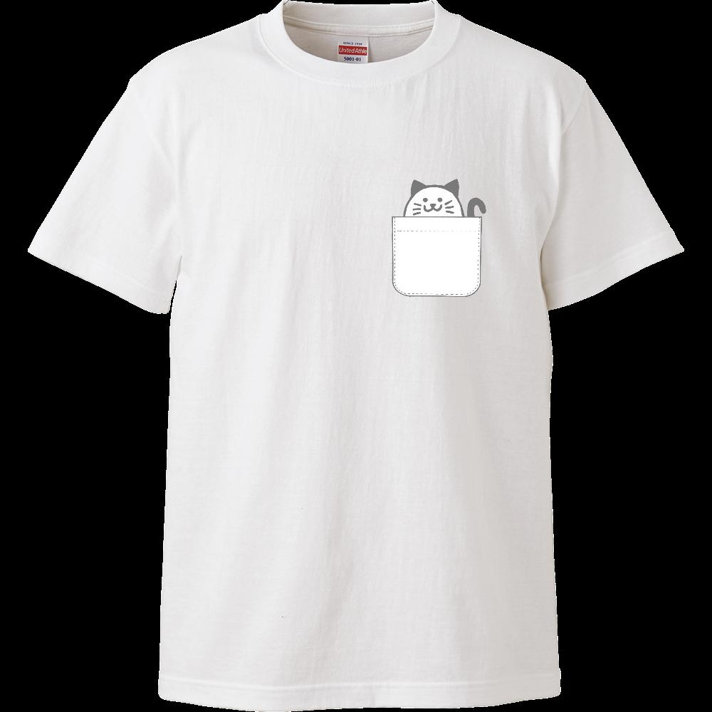 ポケットからみゃころん(グレー) ハイクオリティーTシャツ