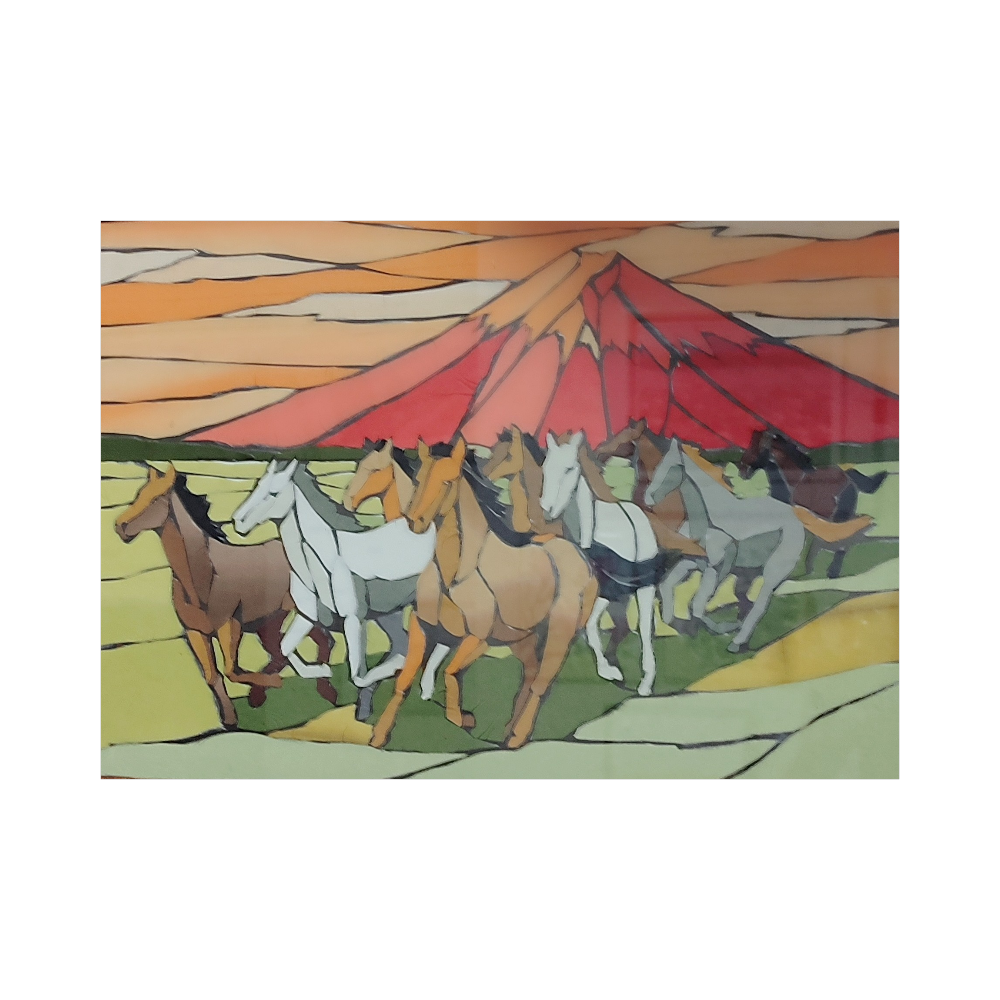 赤富士と馬 ブランケット - 700 x 1000 (mm) - ポリエステル