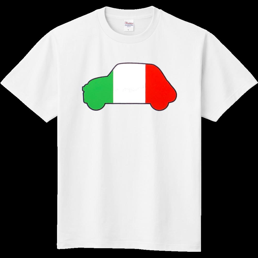 クラシックカーイタリア国旗柄(黒枠)イラストTシャツ 定番Tシャツ