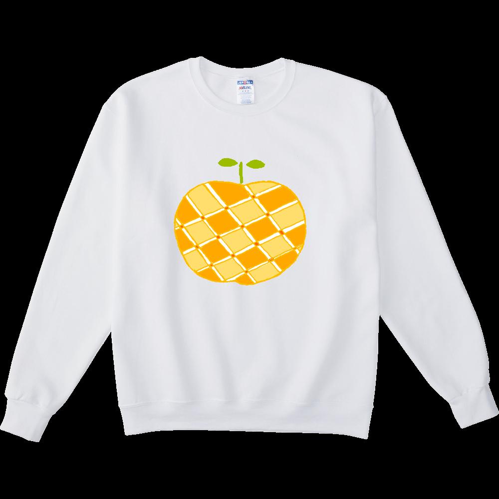 この秋おすすめ!昭和レトロポップデザイン「リンゴ」 NUBLENDスウェットシャツ