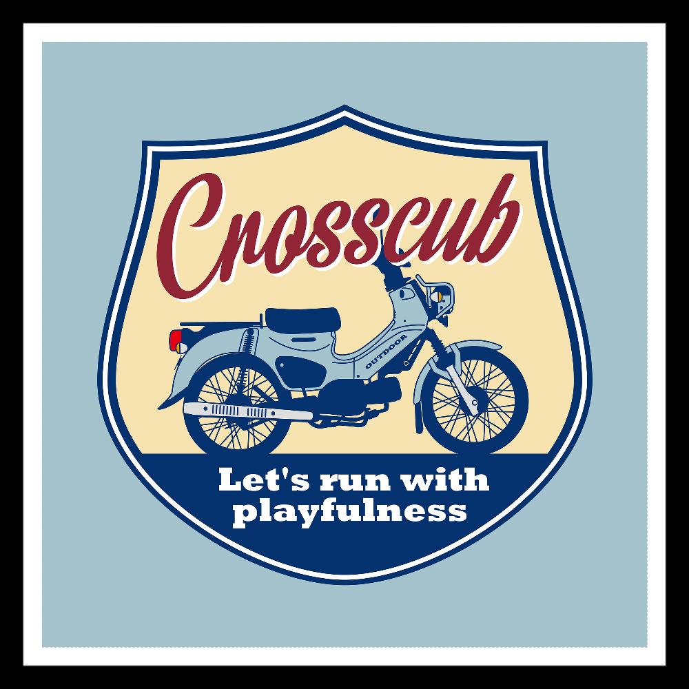 クロスカブ Let's run with playfulness プコブルー CC110 CC50 100mmホワイトステッカー・シール