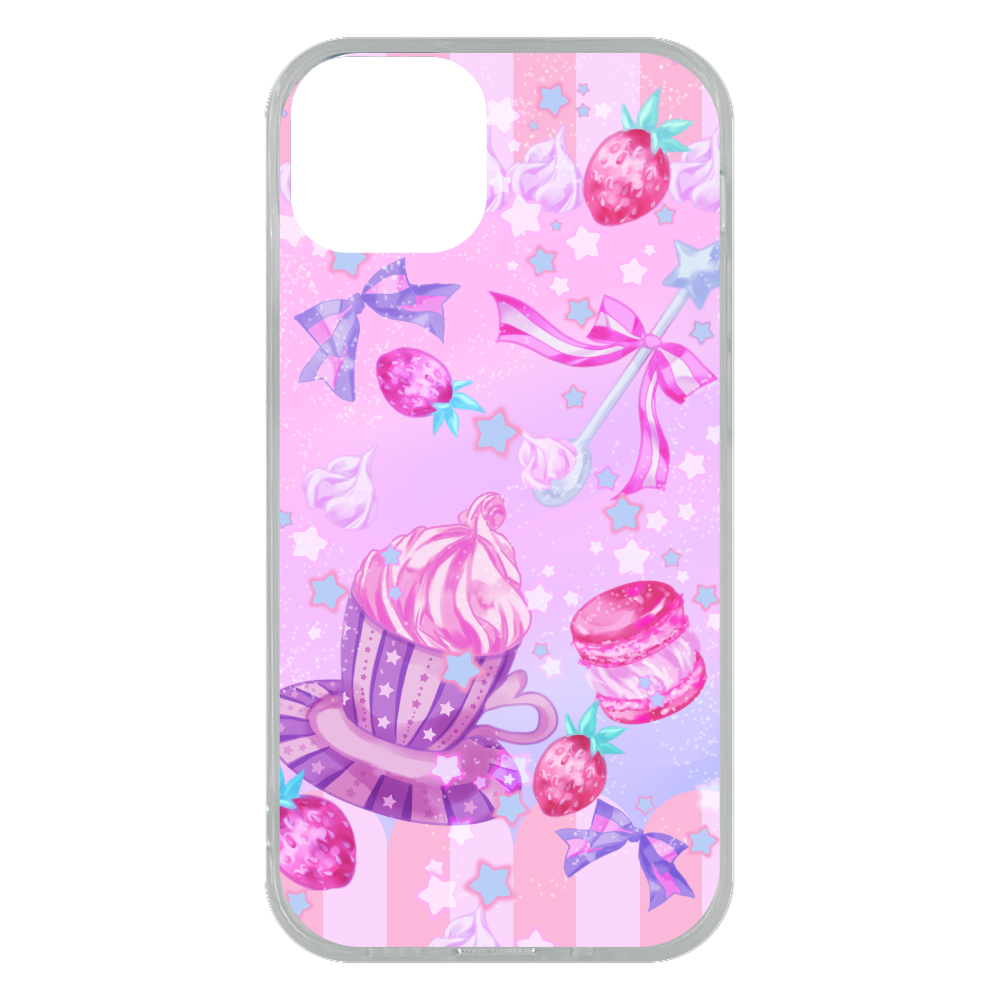 苺とマカロンのティータイム スマホケースiPhone13 mini ソフトケース (TPU) iPhone13 mini ソフトケース (TPU)