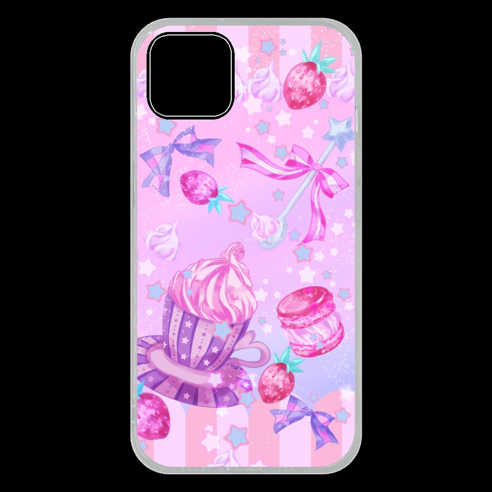 苺とマカロンのティータイム スマホケースiPhone 13 ソフトケース iPhone13 ソフトケース (TPU)