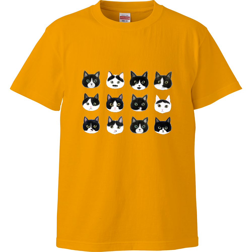 ねこあたまコレクション~白黒ちゃんハチワレちゃん~ ハイクオリティーTシャツ