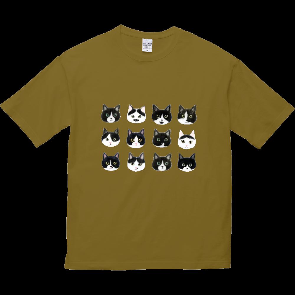 ねこあたまコレクション~白黒ちゃんハチワレちゃん~ 5.6オンス ビッグシルエット Tシャツ