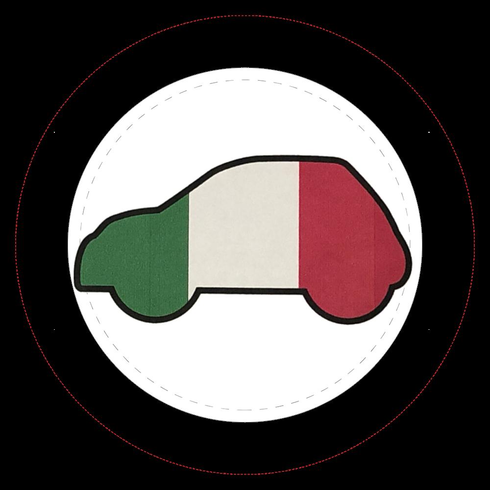 トリコローレイタリア旗柄車イラスト缶バッジ  44㎜缶バッジ