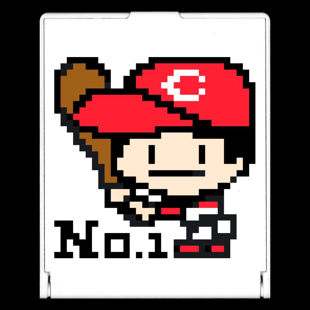 野球少年C -ピクセルアート- スクエアミラー