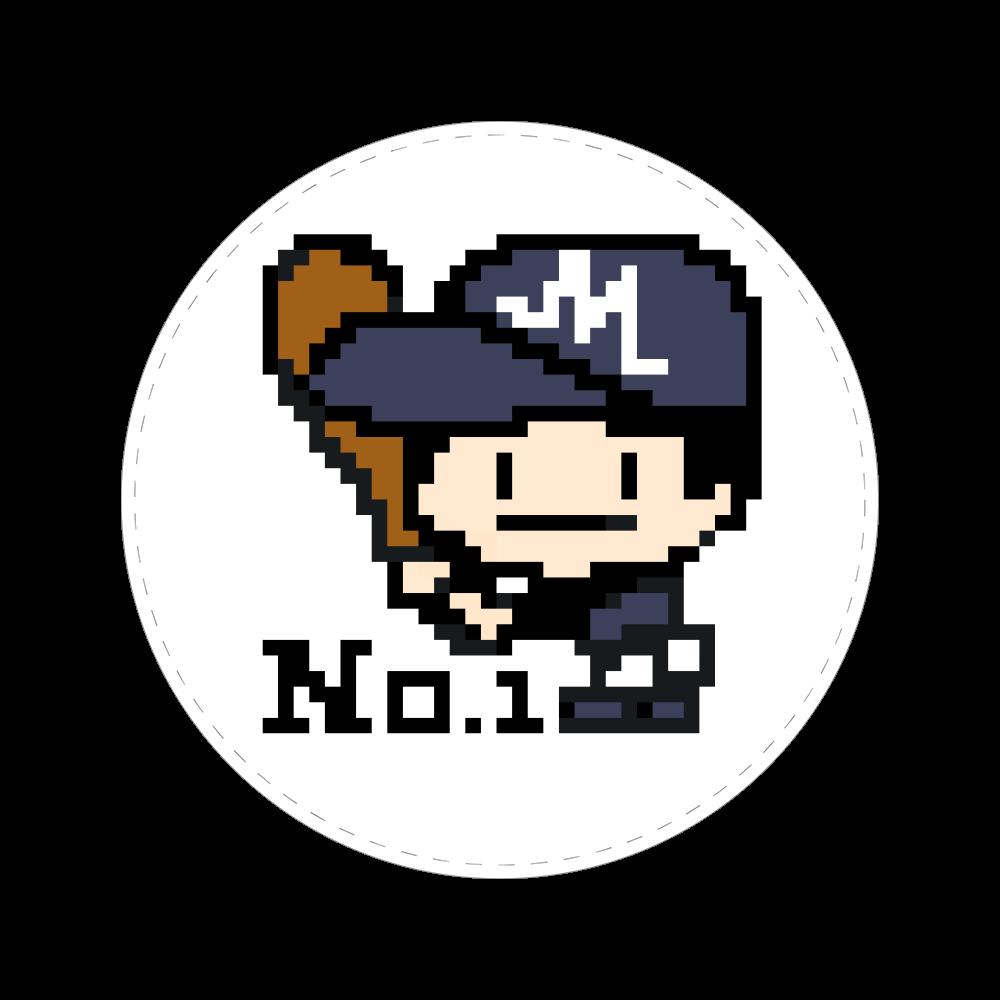 野球少年M -ピクセルアート- 56㎜缶バッジ