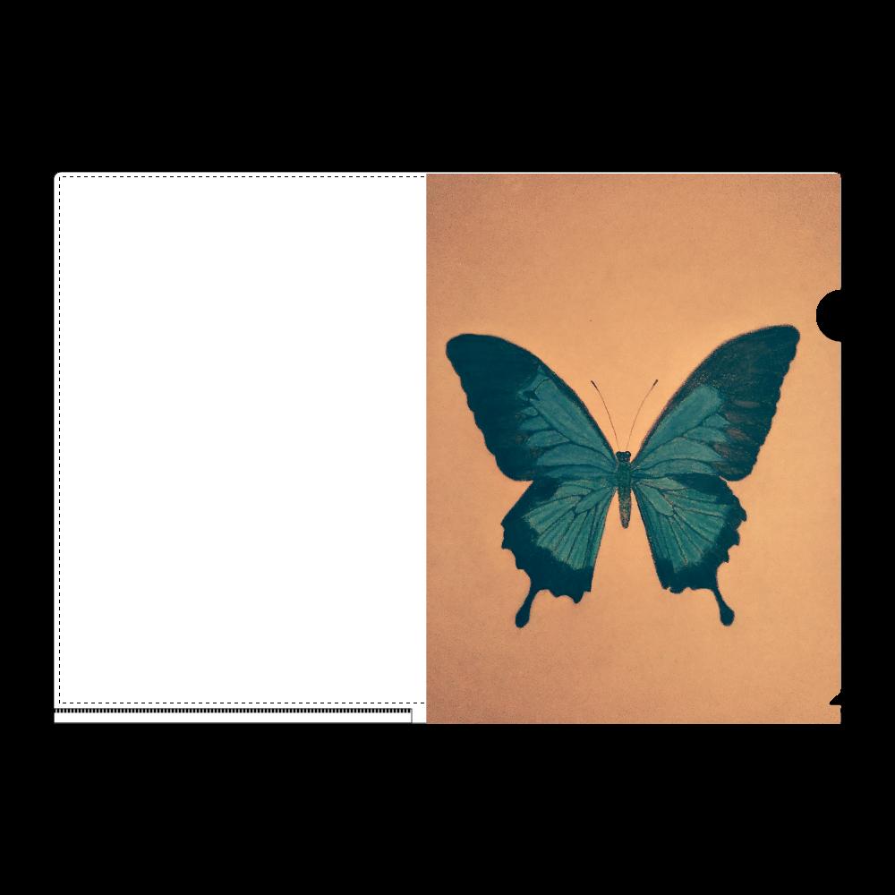 幸せの青い蝶 A4フルグラフィッククリアファイル