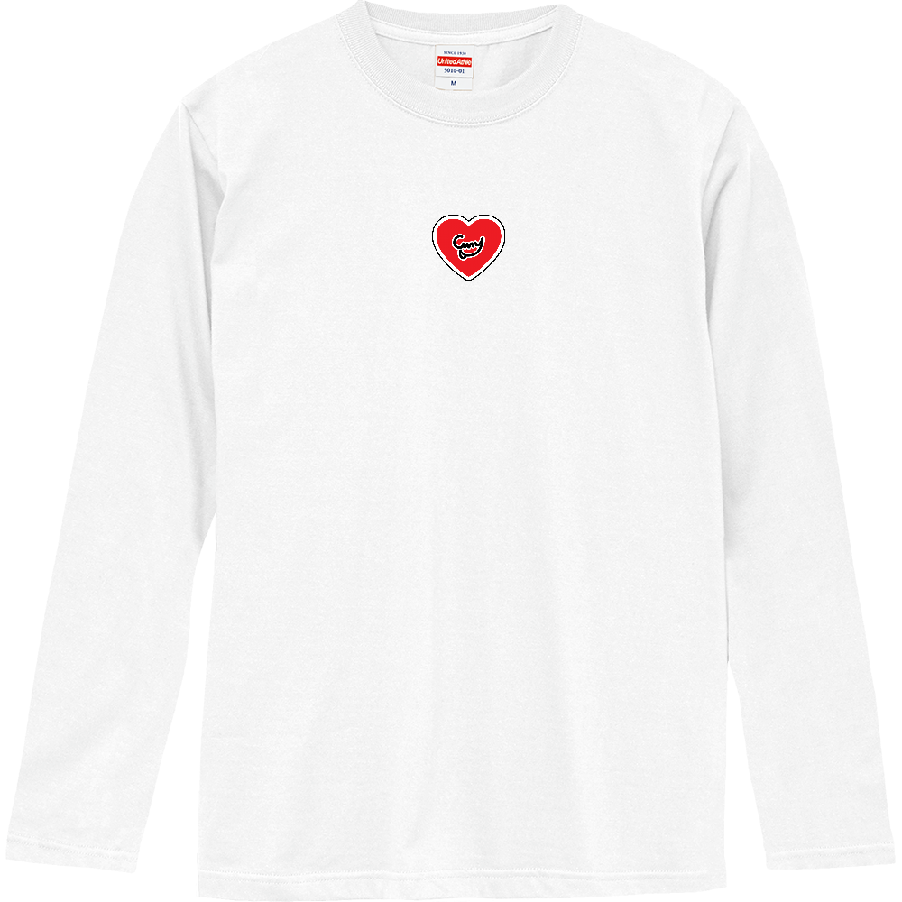 Curry Heart(ワッペン風/真中)(12色) ロングスリーブTシャツ