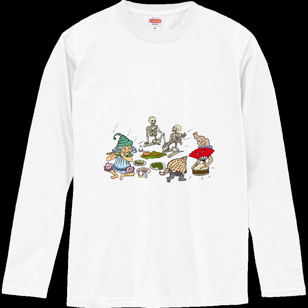 妖怪シリーズ、巻貝、骸骨、ホラガイ、扇子 ロングスリーブTシャツ
