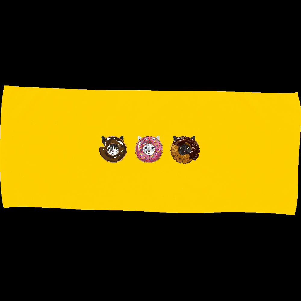 猫シリーズ ドーナツ猫 カラーフェイスタオル