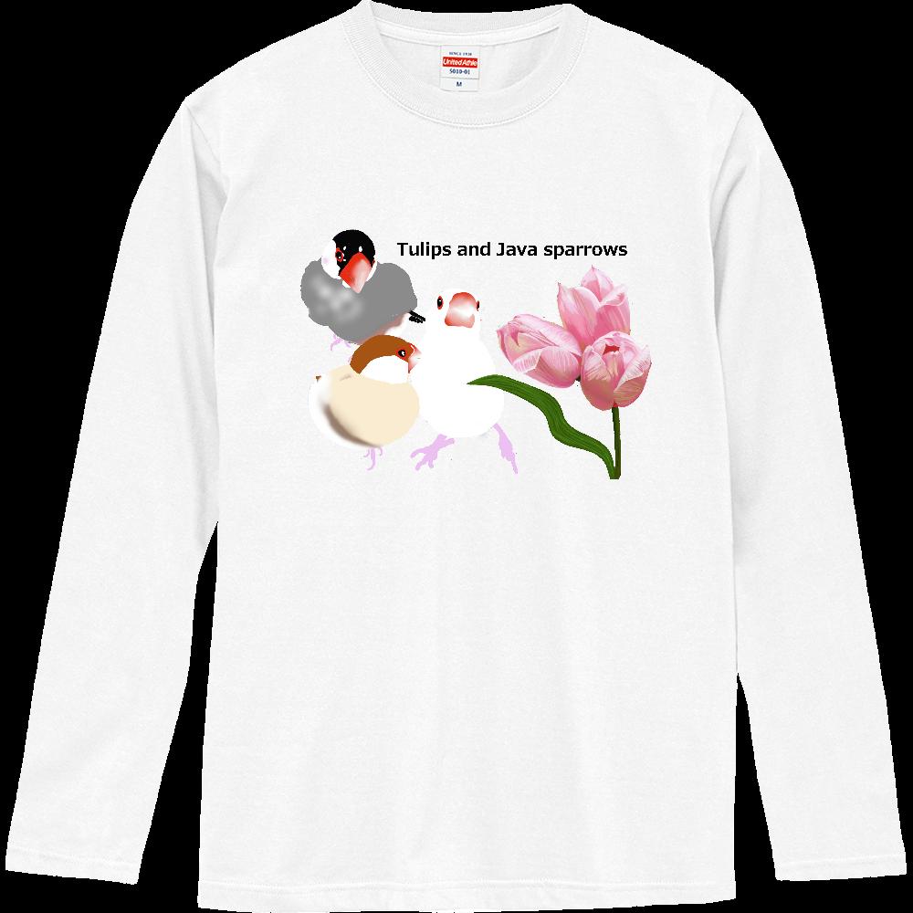 チューリップと文鳥さん ロングスリーブTシャツ