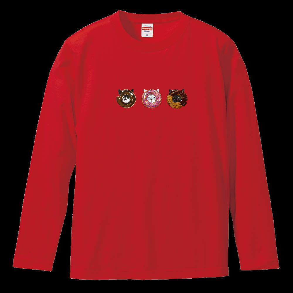 猫シリーズ ドーナツ猫 ロングスリーブTシャツ