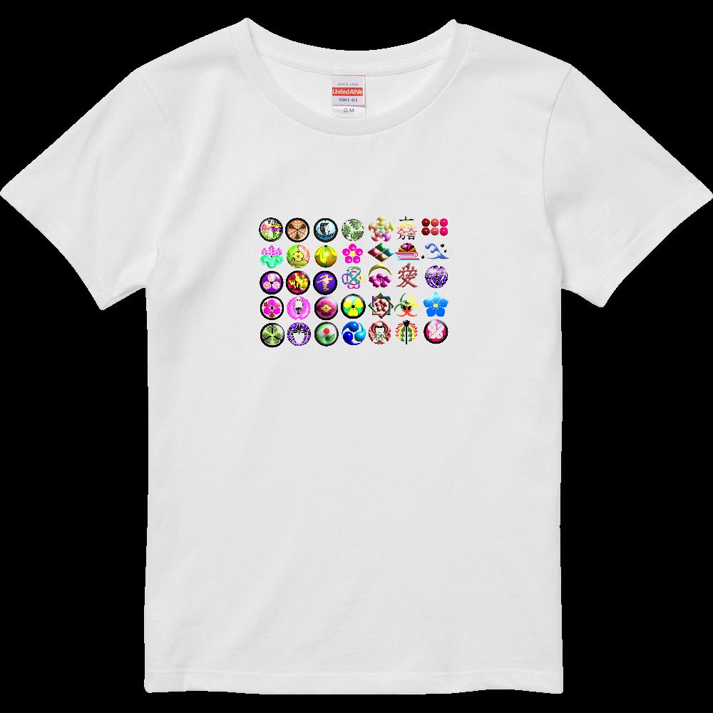 カラフル家紋 ハイクオリティーTシャツ(ガールズ)
