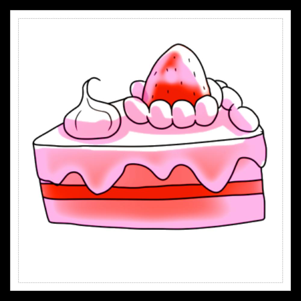 イチゴショートケーキ☆シリーズ 100mmホワイトステッカー・シール