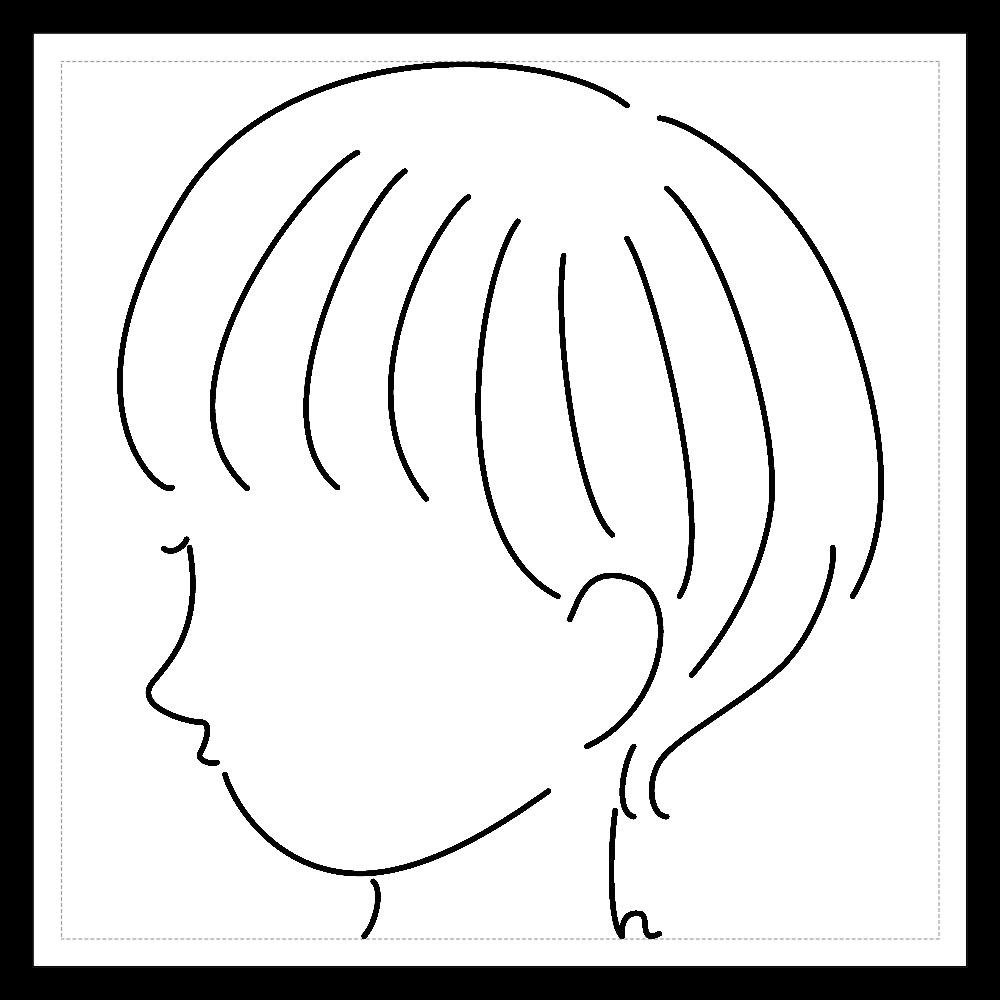 short girl sticker 03 100mmホワイトステッカー・シール