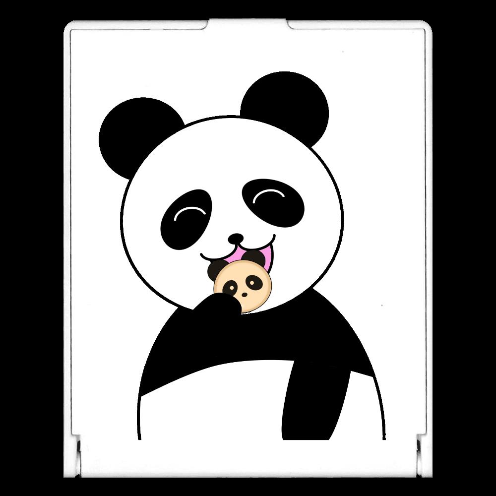 パンダパンを食べるパンダ スクエアミラー