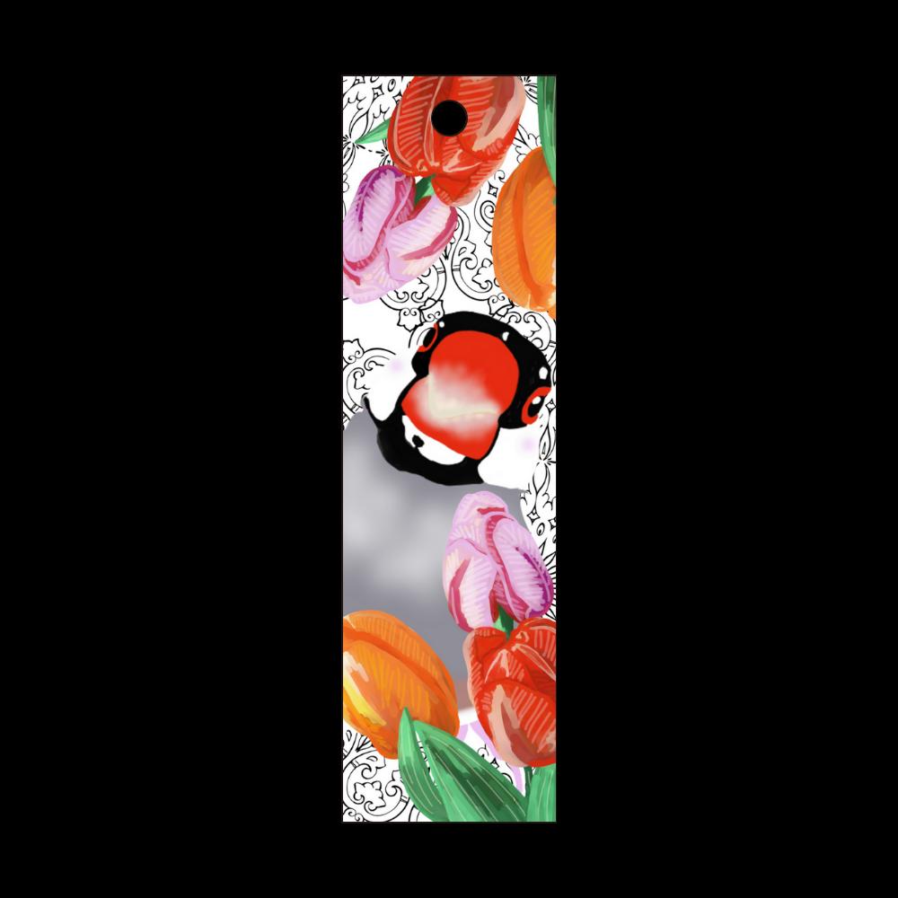 桜文鳥とチューリップ① 短冊型アクリルキーホルダー (W20mm H70mm)
